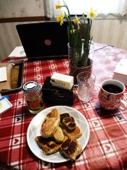 st. david's day breakfast --- welsh cakes, butter, silver shred marmalade and scottish breakfast tea.